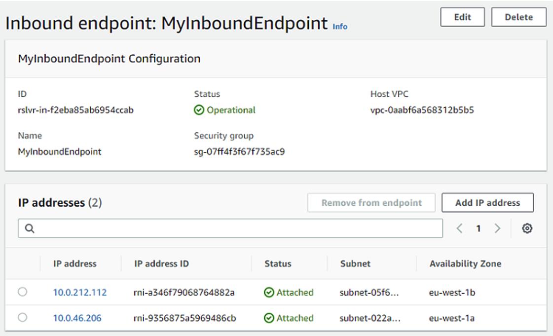 Route 53 resolver IP addresses