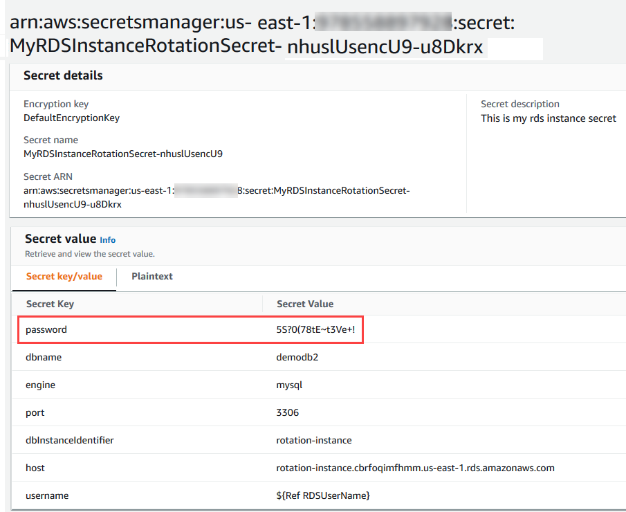 Example password stored in Secrets Manager