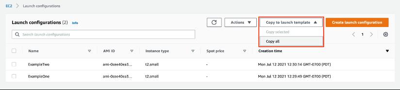 copy to launch template screenshot