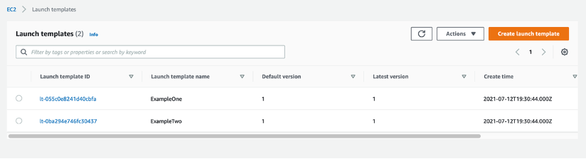 5. Navigate to the EC2 Launch Template console to view your newly created launch templates.