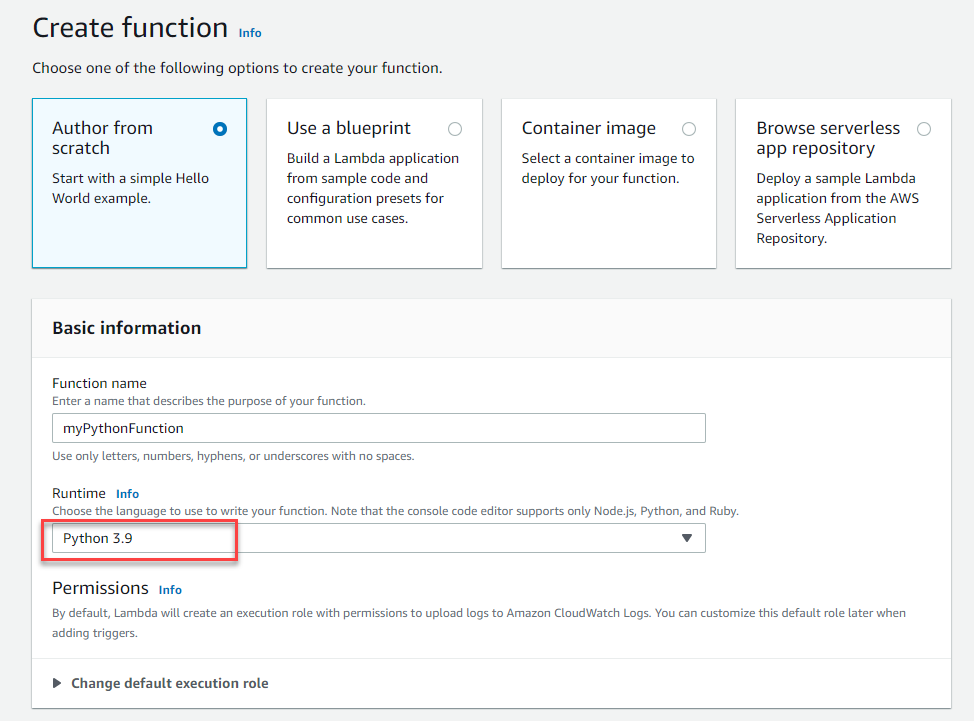 Create function page