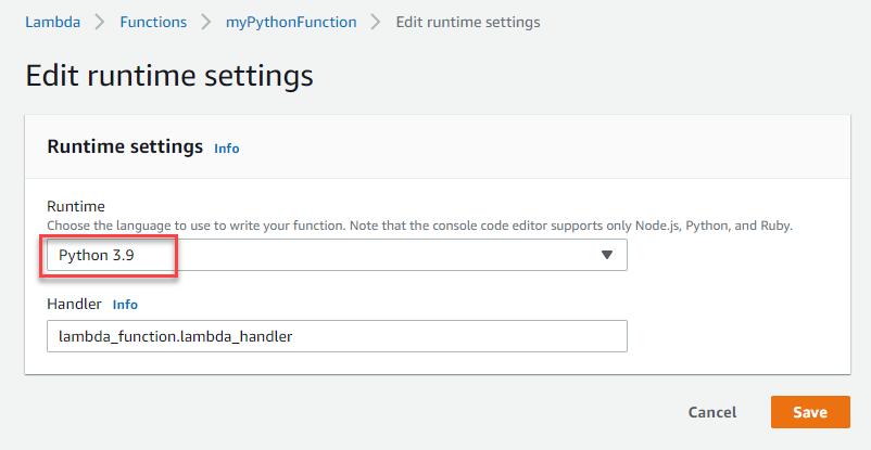 Edit runtime settings
