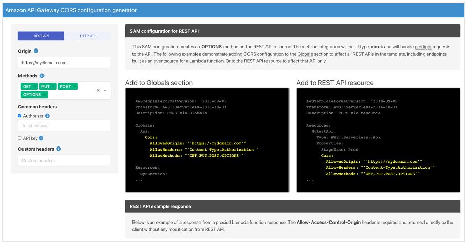 Amazon API Gateway CORS Configurator