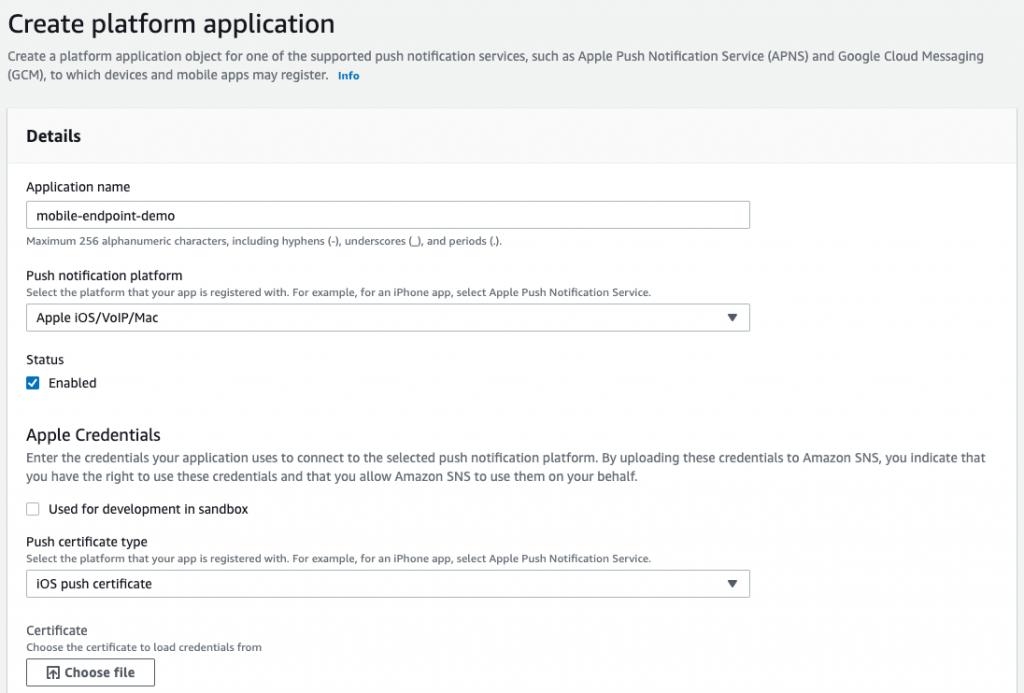 Create platform application