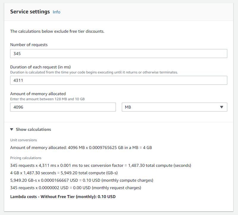 AWS Pricing Calculator configuration