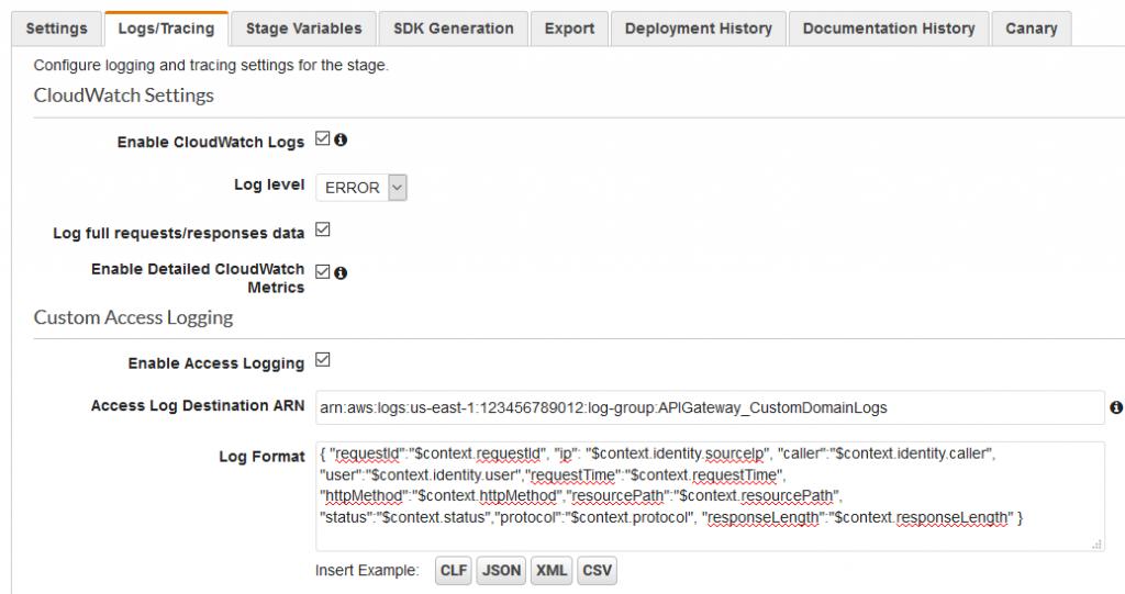 API Gateway logging