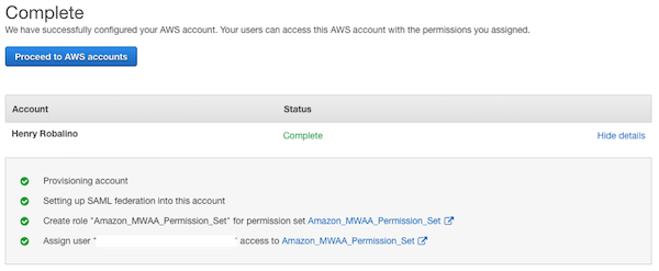 Proceed to AWS accounts