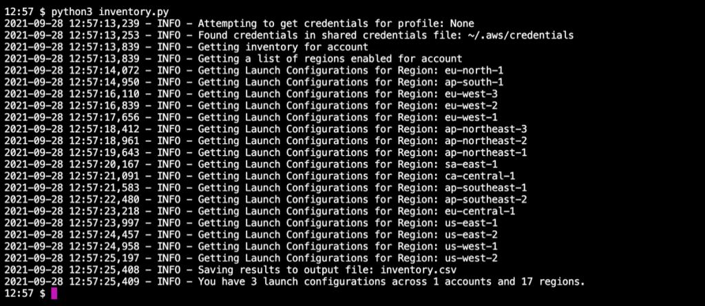 Screenshot of Launch Configuration Inventory script
