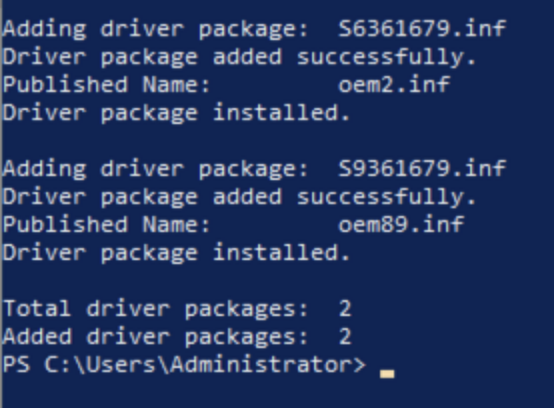 The output of the PowerShell command that installs the graphics driver for AMD Radeon Pro V520