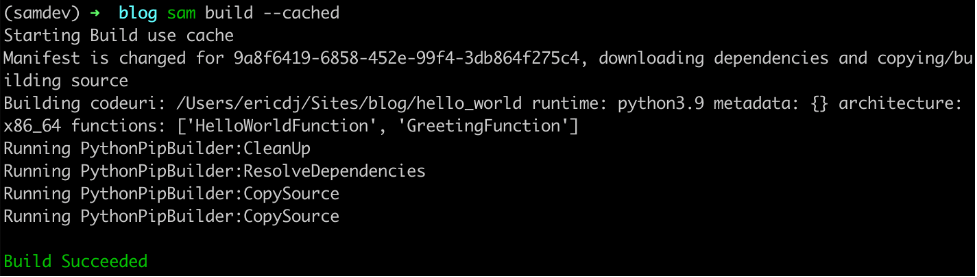 AWS SAM build detects dependency changes