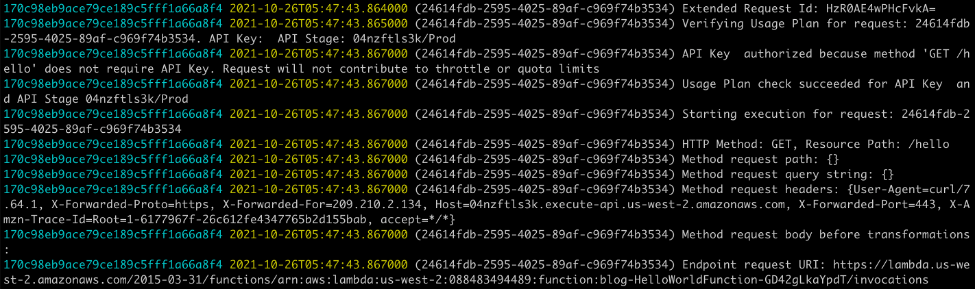 Amazon API Gateway execution logs from Amazon CloudWatch