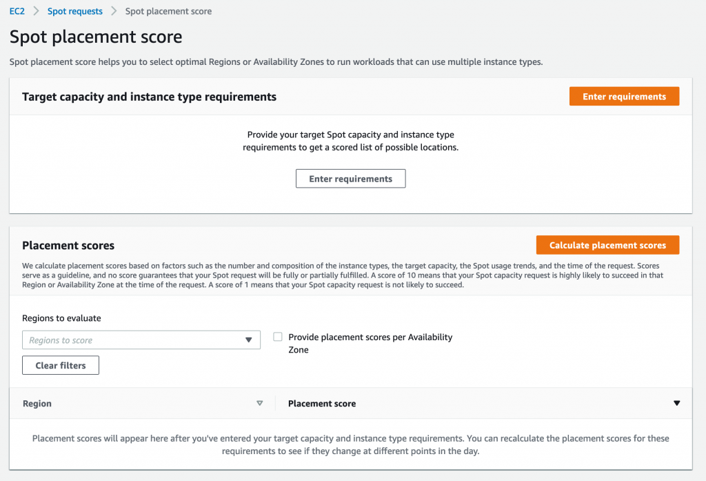 Spot placement score screen in AWS Management Console.