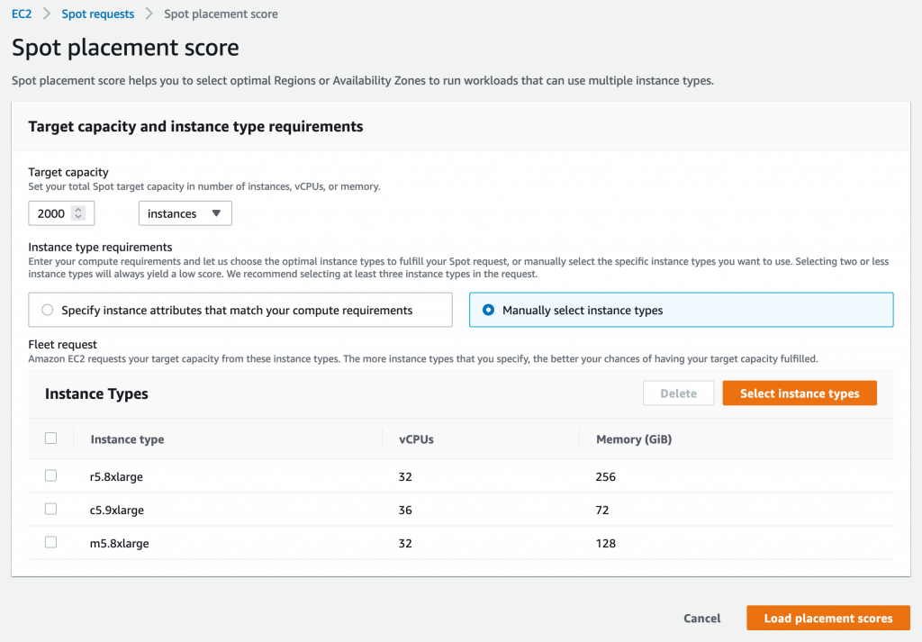 Spot placement score screen in AWS Management Console with selected target capacity at 2000 instances and selected r5.8xlarge, c5.9xlarge, and m5.8xlarge instance types..