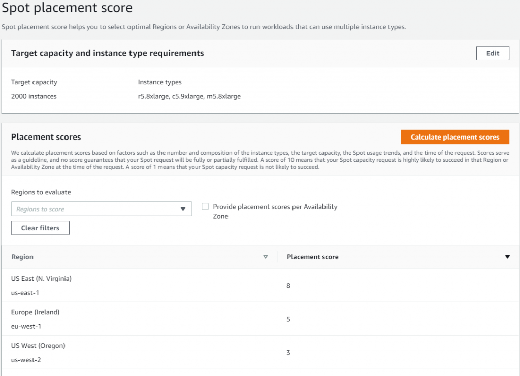 Spot placement score screen in AWS Management Console with displayed scores on Region level scores.