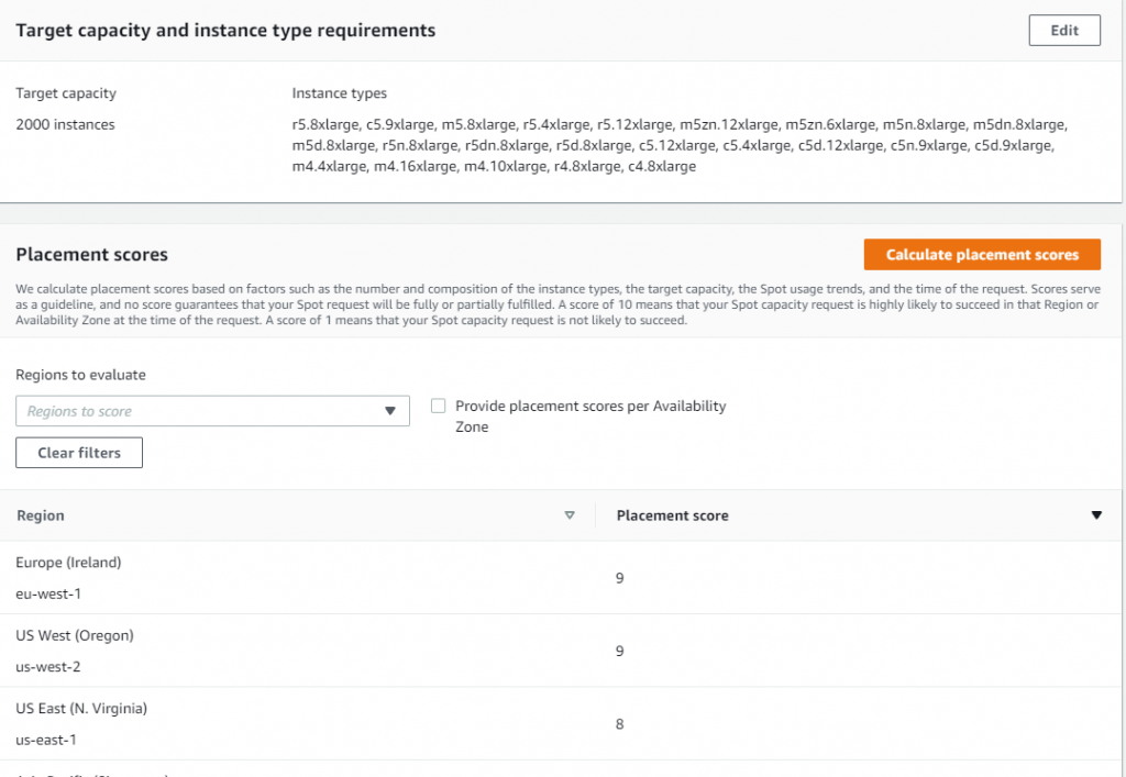 Spot placement score screen in AWS Management Console with selected target capacity at 2000 instances and selected r5.8xlarge, c5.9xlarge, m5.8xlarge, r5.4xlarge, r5.12xlarge, m5zn.12xlarge, m5zn.6xlarge, m5n.8xlarge, m5dn.8xlarge, m5d.8xlarge, r5n.8xlarge, r5dn.8xlarge, r5d.8xlarge, c5.12xlarge, c5.4xlarge, c5d.12xlarge, c5n.9xlarge. c5d.9xlarge, m4.4xlarge, m4.16xlarge, m4.10xlarge, r4.8xlarge, c4.8xlarge instance types.