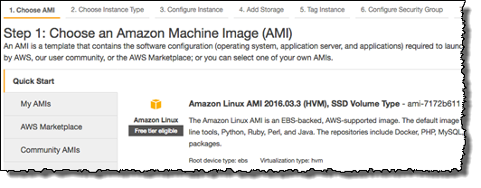 Screenshot of choosing Amazon Linux AMI (HVM)