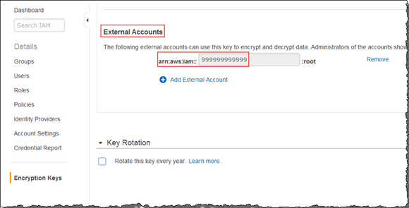Screenshot showing addition of an external account