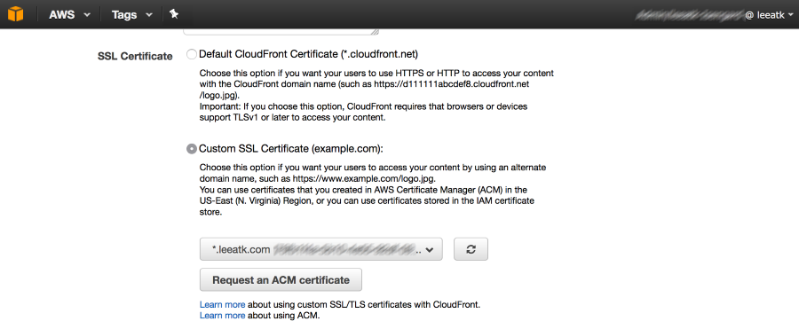 Screenshot of choosing a custom SSL certificate