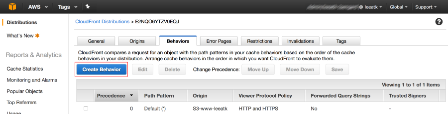 Screenshot showing Cache Behavior button