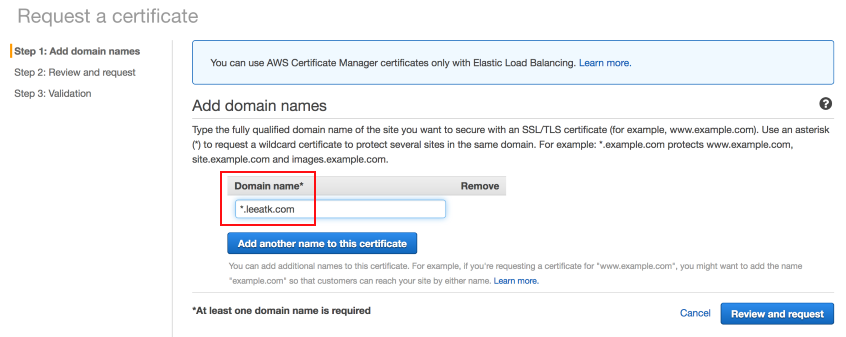 Request a certificate page