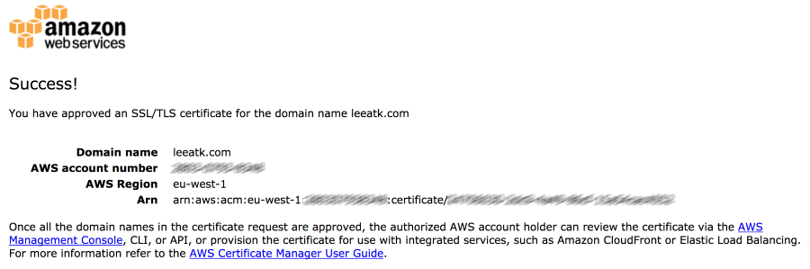 SSL/TLS certificate confirmation page