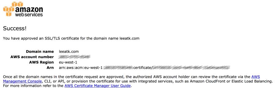 SSL/TLS certificate confirmation page