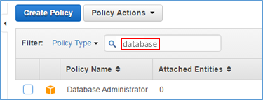 "Screenshot of typing ""database"" in filter box"