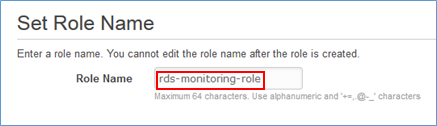 Screenshot of creating the role called rds-monitoring-role