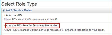 "Screenshot of selecting ""Amazon RDS Role for Enhanced Monitoring"""
