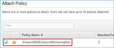 Screenshot of choosing AmazonRDSEnhancedMonitoringRole