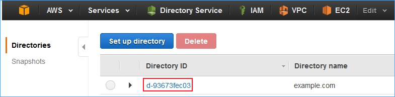 Screenshot of choosing the Directory ID