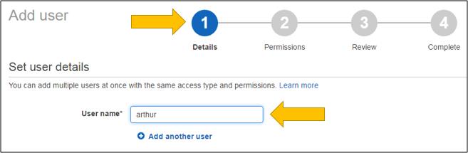 Screenshot of establishing the user name