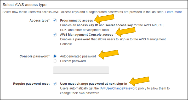 Screenshot of configure both configuring programmatic and AWS Management Console access for Arthur