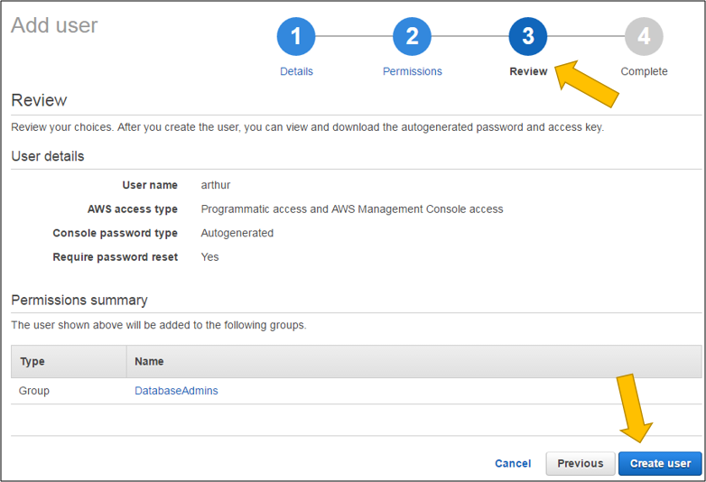 Screenshot of reviewing the permissions