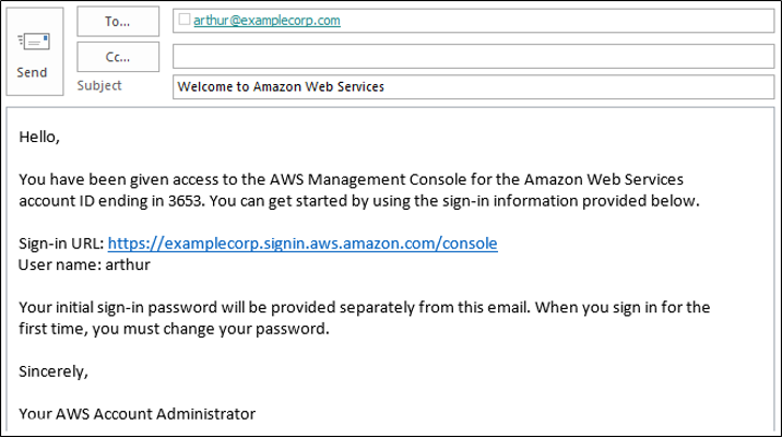 Screenshot of email with sign-in instructions