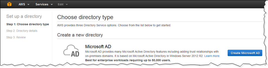 "Screenshot of choosing ""Create Microsoft AD"""