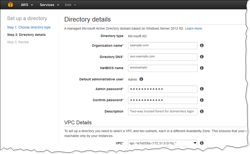 Screenshot of establishing directory details