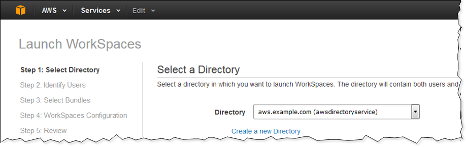 Screenshot of choosing the Microsoft AD directory