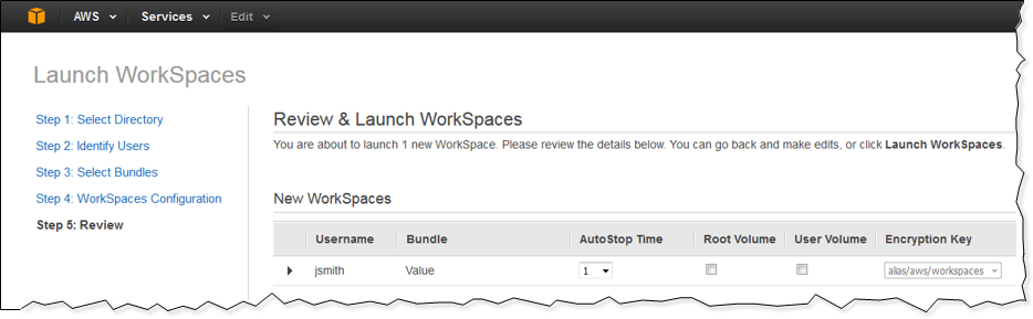 Screenshot of reviewing the WorkSpaces configuration