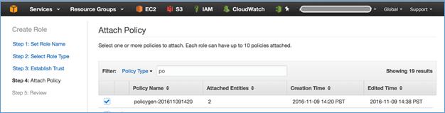 Screenshot of choosing the policy