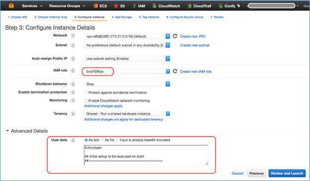 Screenshot of configuring EC2 instance details