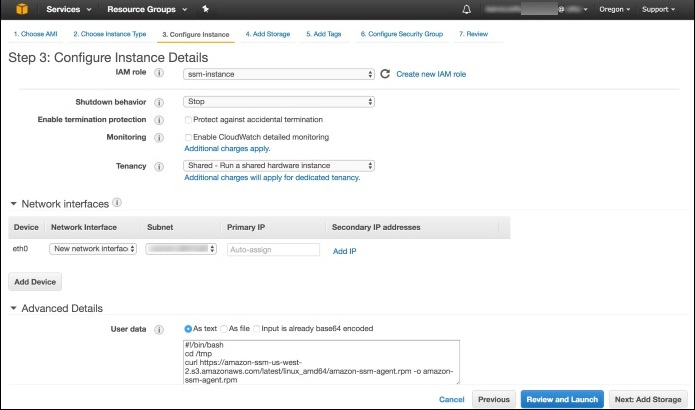 Screenshot of configuring instance details