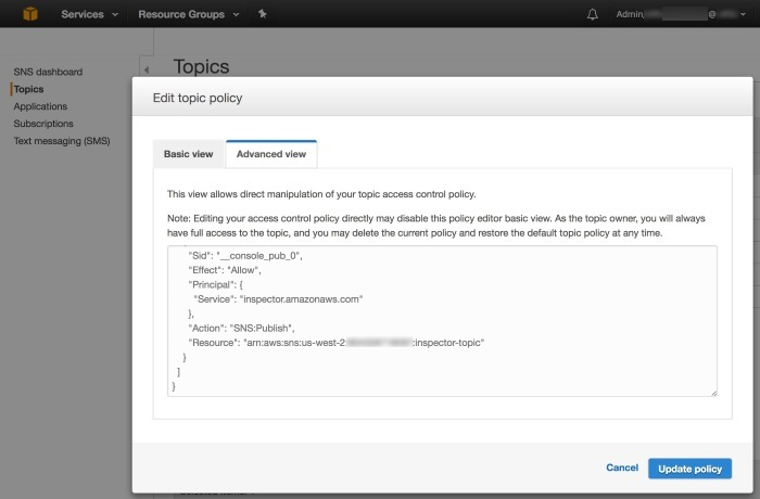 Screenshot of editing the topic policy