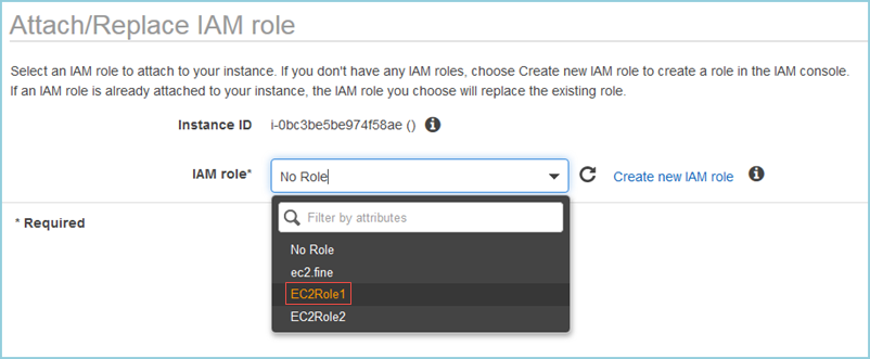 Screenshot of choosing the IAM role
