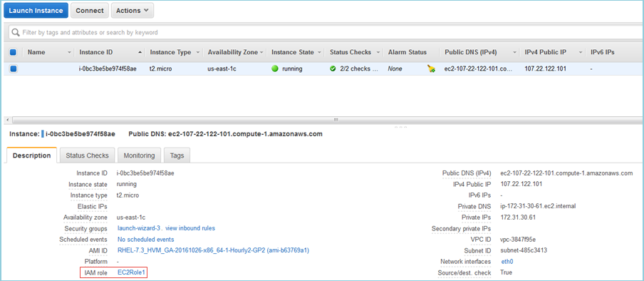 Screenshot showing EC2Role1 as the IAM role