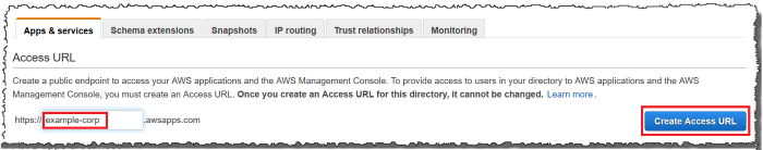 Screenshot of creating an Access URL