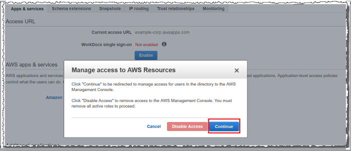 Screenshot of Manage access to AWS Resources dialog box