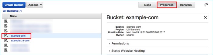 Screenshot showing choosing the S3 bucket and the Properties button