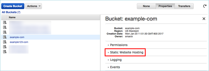 Screenshot of choosing Static Website Hosting