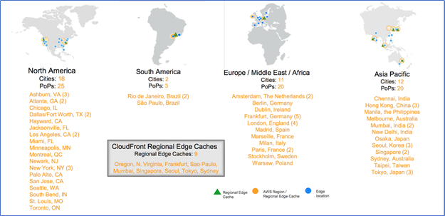 Map showing Amazon edge locations